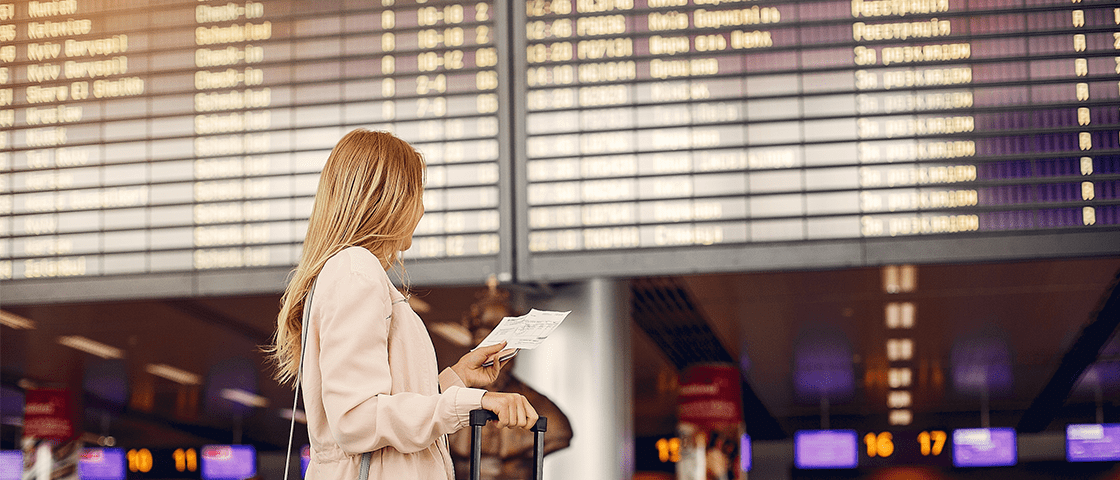 woman at the airport entrance
