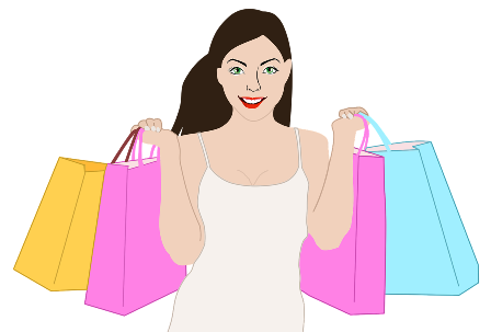 happy woman with shopping bags - graphic