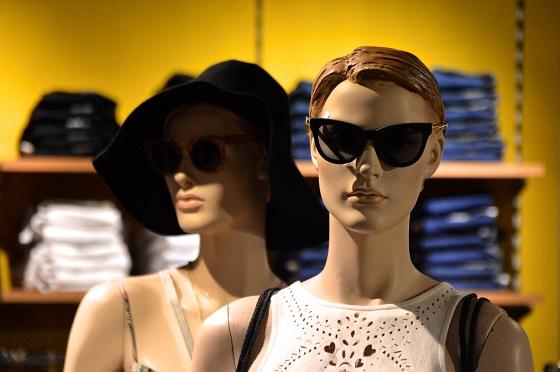 plastic mannequin in clothing store